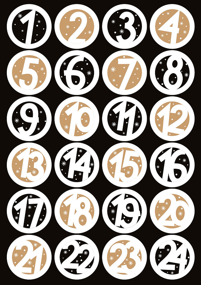 Advent Stickers 1-24 op vel