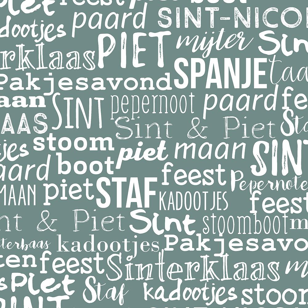 Kadopapier Sint Handlettering Mint 30cm