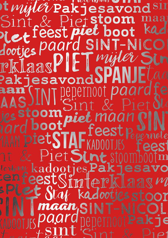 Kadopapier Sint Handlettering 30cm