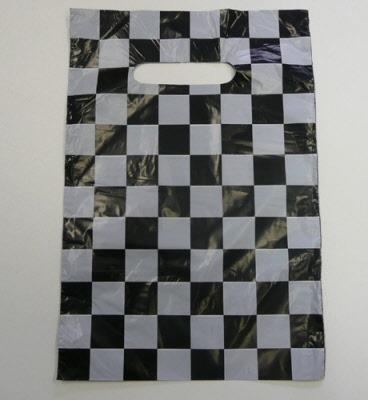 Plastic Draagtas Geblokt Zwart/Wit