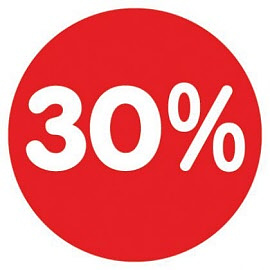 Raamsticker 30%