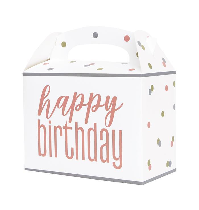 Uitdeelbox Happy Birthday Wit Rose
